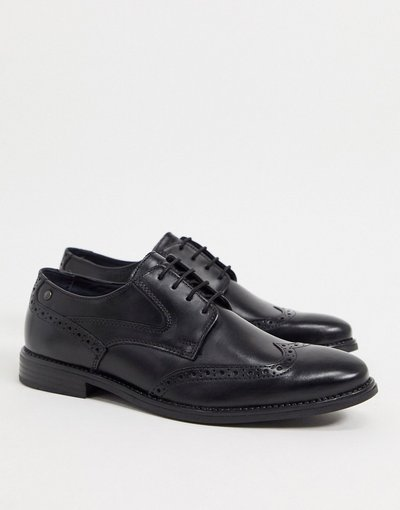 Scarpa elegante Nero uomo BASE LONDON RISCO BROGUES IN BLACK LEATHER - Nero