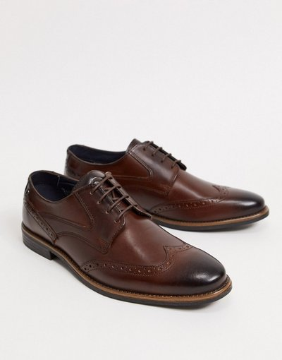 Scarpa elegante Marrone uomo Scarpe brogue in pelle marrone - Base London - Risco