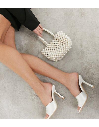 Sandali Bianco donna Sabot da sposa in raso color avorio a pianta larga con punta squadrata - Be Mine - Everly - Bianco