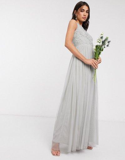 Grigio donna Vestito lungo decorato con gonna a pieghe grigio chiaro - Beauut