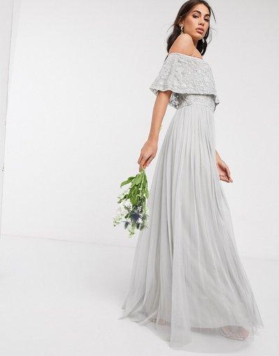 Grigio donna Vestito lungo decorato con scollo alla Bardot grigio chiaro - Beauut