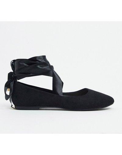 Scarpa bassa Nero donna Ballerine nere con nastri da annodare - BEBO - Nero