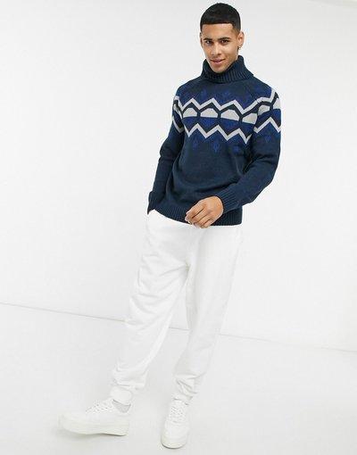 Blu navy uomo Maglione con collo alto in jacquard con motivi geometrici blu navy - Bellfield