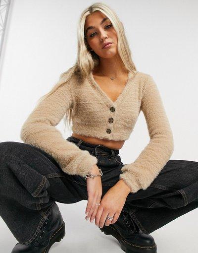 Beige donna Cardigan corto soffice color cammello - Bershka - Beige