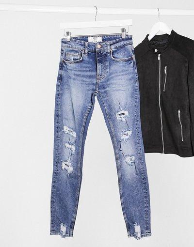 Jeans Blu uomo Jeans super skinny blu con strappi - Bershka
