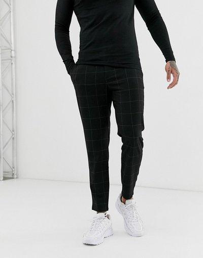 Pantalone Nero uomo Pantaloni cropped skinny nero chiaro a quadri - Bershka
