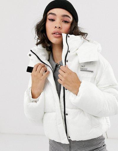 Bianco donna Piumino con cappuccio bianco - Bershka