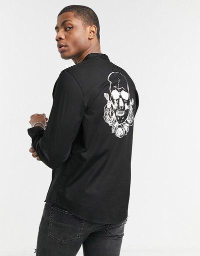 Camicia Nero uomo Camicia a maniche lunghe con collo serafino e stampa di teschio sul retro - Bolongaro Trevor - Nero
