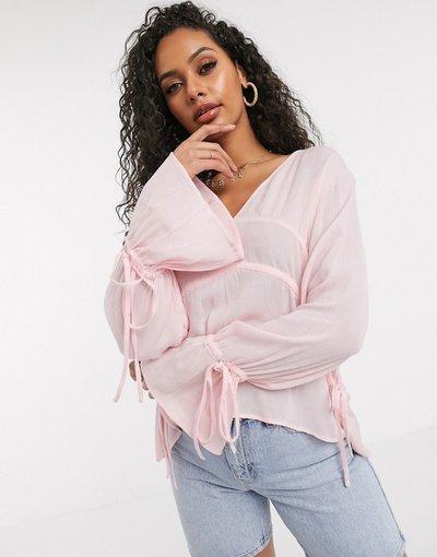 Camicia Rosa donna Blusa trasparente con dettaglio sulle maniche rosa - Boohoo