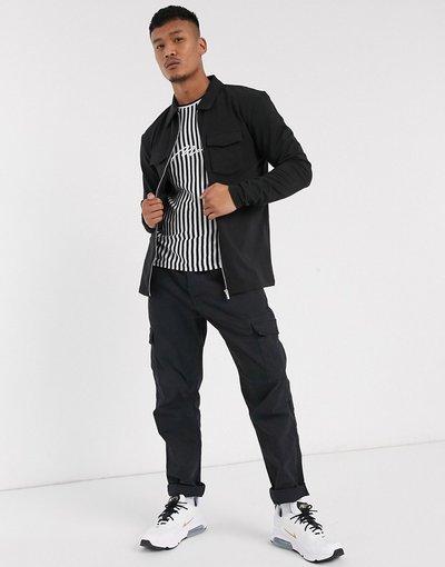 Nero uomo Camicia giacca attillata nera in pile leggero - boohooMAN - Nero