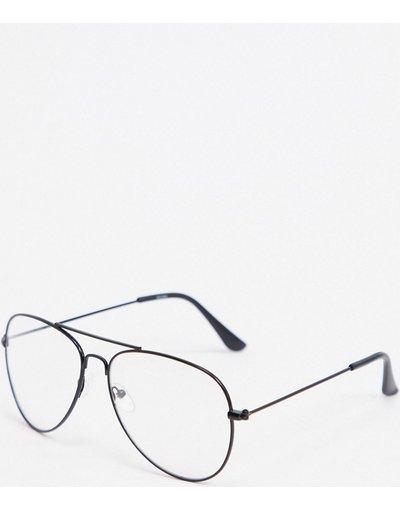 Occhiali Nero uomo Occhiali modello aviatore neri con lenti trasparenti - boohooMAN - Nero