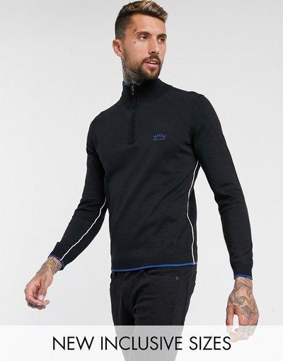 Nero uomo Maglione lavorato con zip corta nero - BOSS Athleisure - Ziston
