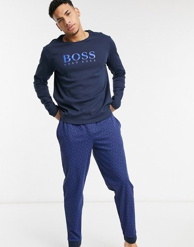 Pigiami Blu navy uomo shirt e joggers blu navy - Completo con T - Bodywear - BOSS