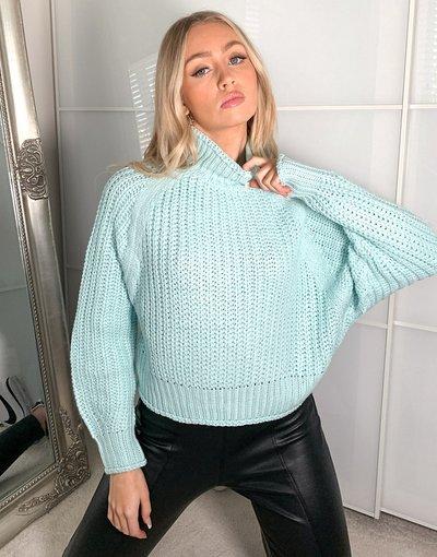 Blu donna Maglione accollato blu a coste inglesi - Brave Soul - Bianca