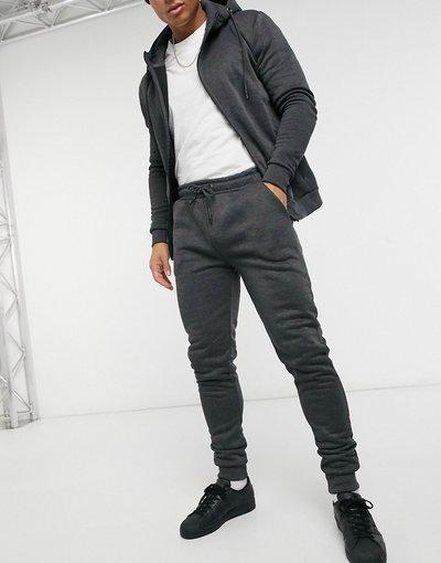 Pantalone Nero uomo Completo tuta sportiva con felpa con cappuccio e zip e joggers grigio antracite - Brave Soul - Nero