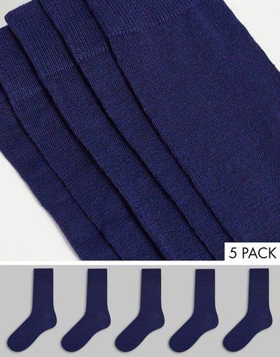Intimo Blu navy uomo Confezione da cinque paia di calzini, colore blu navy - Brave Soul