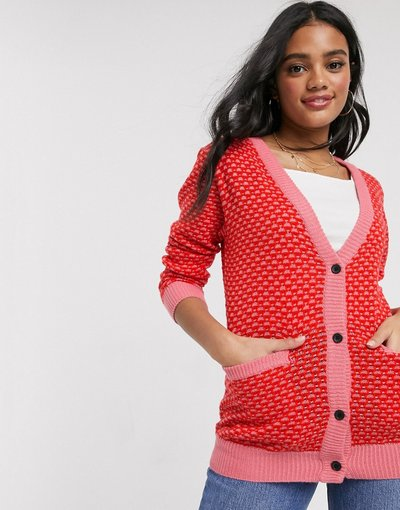 Navy donna Cardigan testurizzato rosa con cuciture - Brave Soul - Funkie - Navy