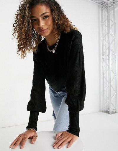 Nero donna Maglione con maniche a palloncino nero - Brave Soul - Harrita