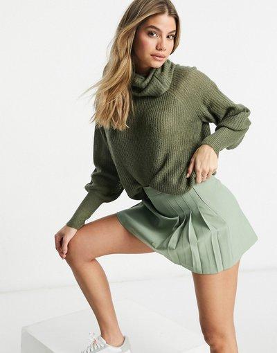 Verde donna Maglione con collo alto e maniche a palloncino kaki - Brave Soul - Harrito - Verde