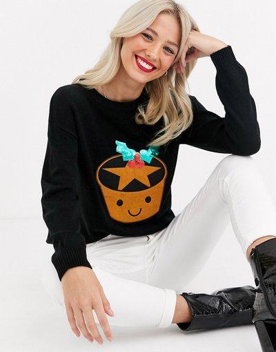 Nero donna Maglione con paillettes e tortina natalizia - Brave Soul - Nero