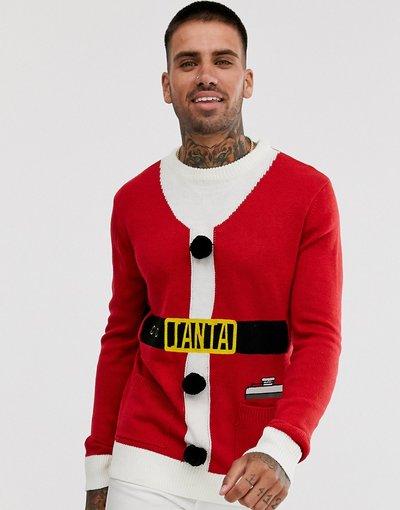 Rosso uomo Maglione natalizio con Babbo Natale e campanelle - Brave Soul - Rosso
