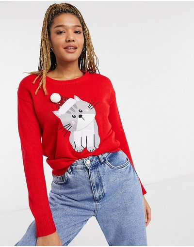 Nero donna Maglione natalizio con gatto - Brave Soul - Nero