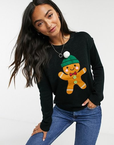 Nero donna Maglione natalizio con omino di pan di zenzero - Brave Soul - Nero