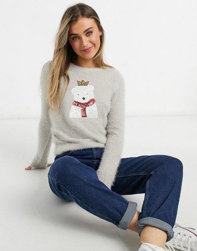 Grigio donna Maglione natalizio morbido con orso polare - Brave Soul - Grigio