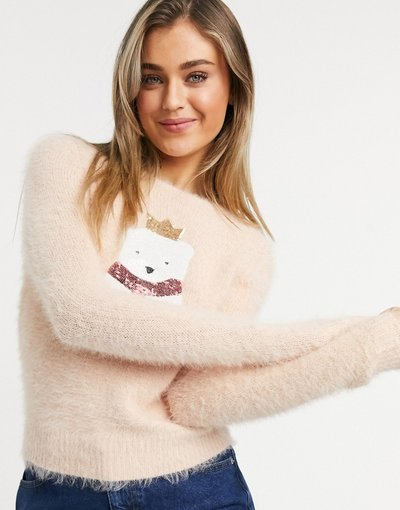 Rosa donna Maglione natalizio morbido con orso polare - Brave Soul - Rosa