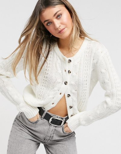 Beige donna Cardigan in maglia a trecce color avena - Brave Soul - Osso - Beige