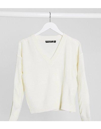 Bianco donna Maglione con scollo a V - Brave Soul Petite - Kansas - Bianco moda abbigliamento