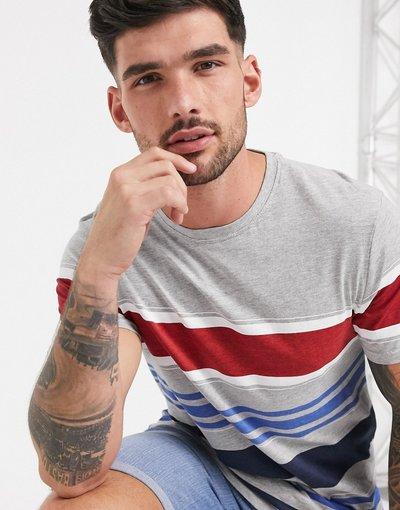 T-shirt Grigio uomo shirt grigia a righe larghe - Brave Soul - Grigio - T