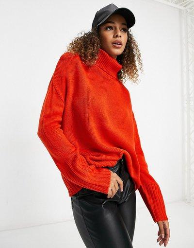 Arancione donna Maglione a collo alto - Brave Soul - Arancione - Tangin