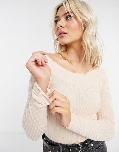 Rosa donna Top in maglia a coste con scollo alla Bardot rosa - Brave Soul