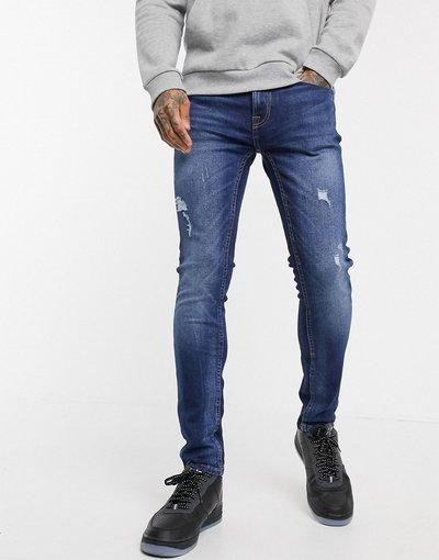 Jeans Blu uomo Jeans super skinny con strappi blu lavaggio chiaro - Burton Menswear