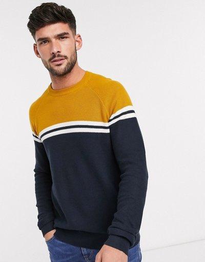 Navy uomo Maglione blu navy e senape - Burton Menswear