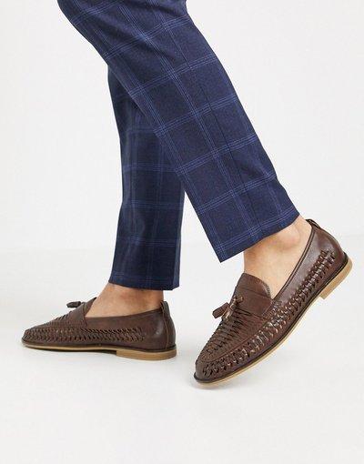 Scarpa elegante Nero uomo Mocassini intrecciati marroni con nappe - Burton Menswear - Nero