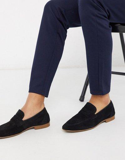 Scarpa elegante Nero uomo Mocassini nero scamosciato - Burton Menswear