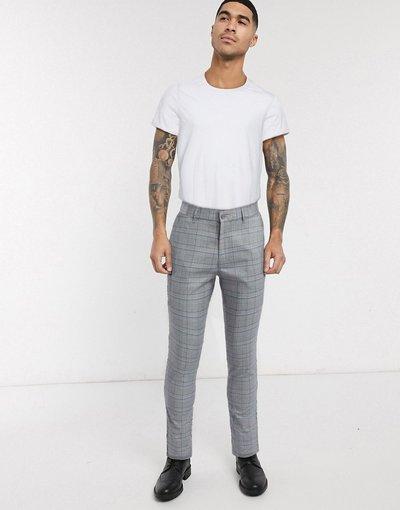 Pantalone Grigio uomo Pantaloni skinny grigi a quadri - Burton Menswear - Grigio