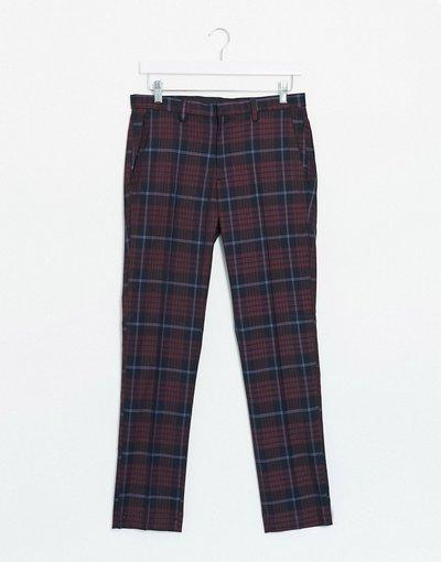 Pantalone Rosso uomo Pantaloni skinny rosso scozzese - Burton Menswear
