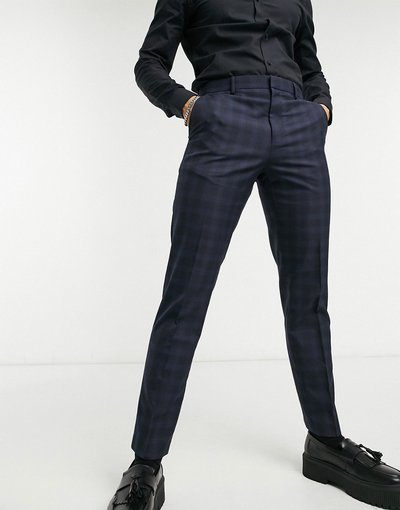 Blu navy uomo Pantaloni slim blu navy a quadri - Burton Menswear