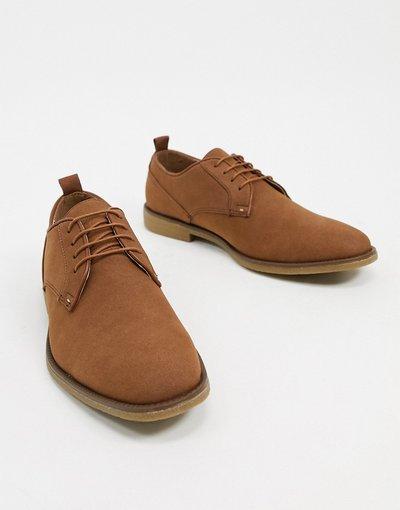 Scarpa elegante Cuoio uomo Scarpe Derby in pelle marrone cuoio - Burton Menswear