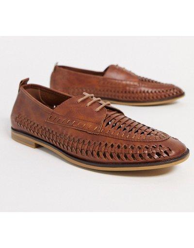 Scarpa elegante Marrone uomo Scarpe stringate e intrecciate color cuoio - Burton Menswear - Marrone