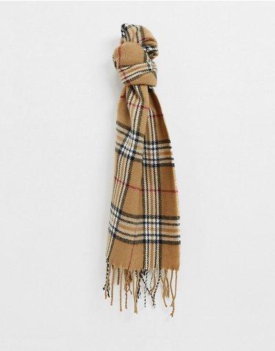 Grigio pietra uomo Sciarpa marrone color cuoio a quadri scozzesi - Burton Menswear - Grigio pietra
