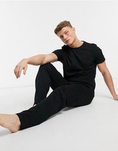 Pigiami Nero uomo shirt e joggers, colore nero - Tuta da casa con T - Burton Menswear