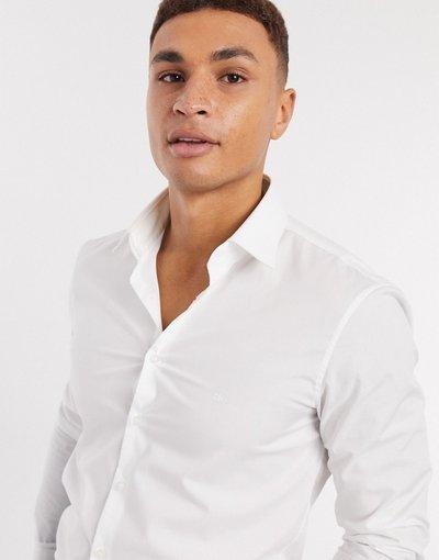 Camicia Bianco uomo Camicia slim elasticizzata in popeline - Calvin Klein - Bianco