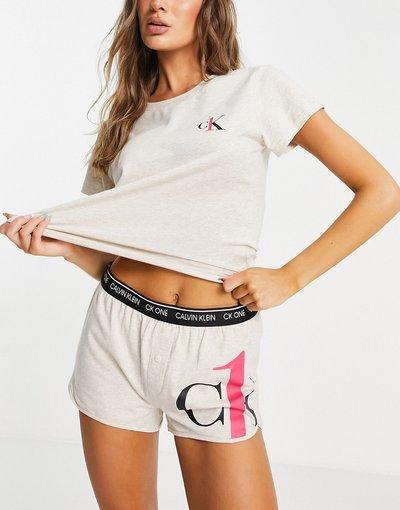 Pigiami Neutro donna shirt con logo e pantaloncini avena - Completo da casa con t - Calvin Klein - Ck one - Neutro