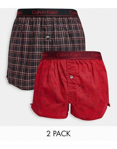 Intimo Rosso uomo Confezione da 2 paia di boxer neri e rossi - Calvin Klein - Rosso