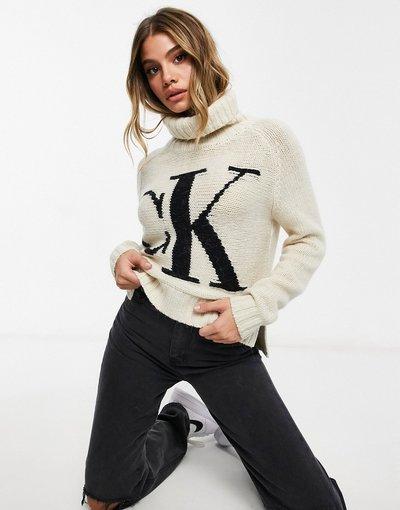 Crema donna Maglione lavorato con collo alto con logo sul davanti, colore crema tenue - Calvin Klein Jeans