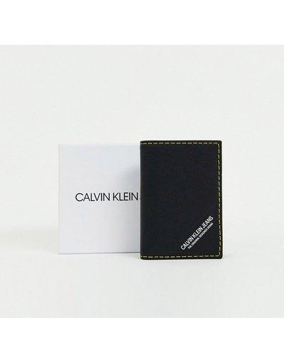 Portafoglio Nero uomo Portacarte in pelle liscia con cuciture - Calvin Klein Jeans - Nero